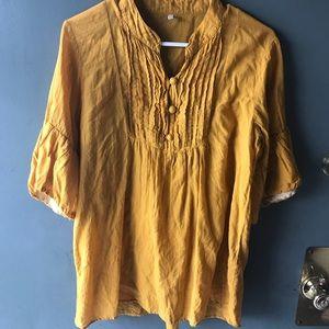 Mustard yellow blouse shirt top